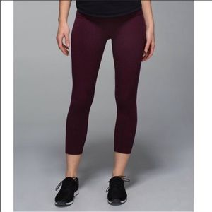 Lululemon Wunder Under Crop Maroon Leggings Pants